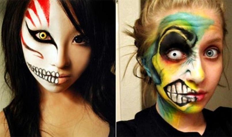 грим и макияж монстра на хэллоуин для девушки