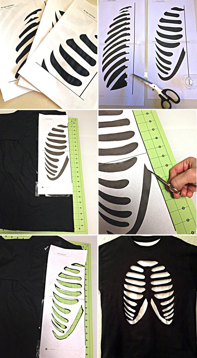 как вырезать на майке скелет
