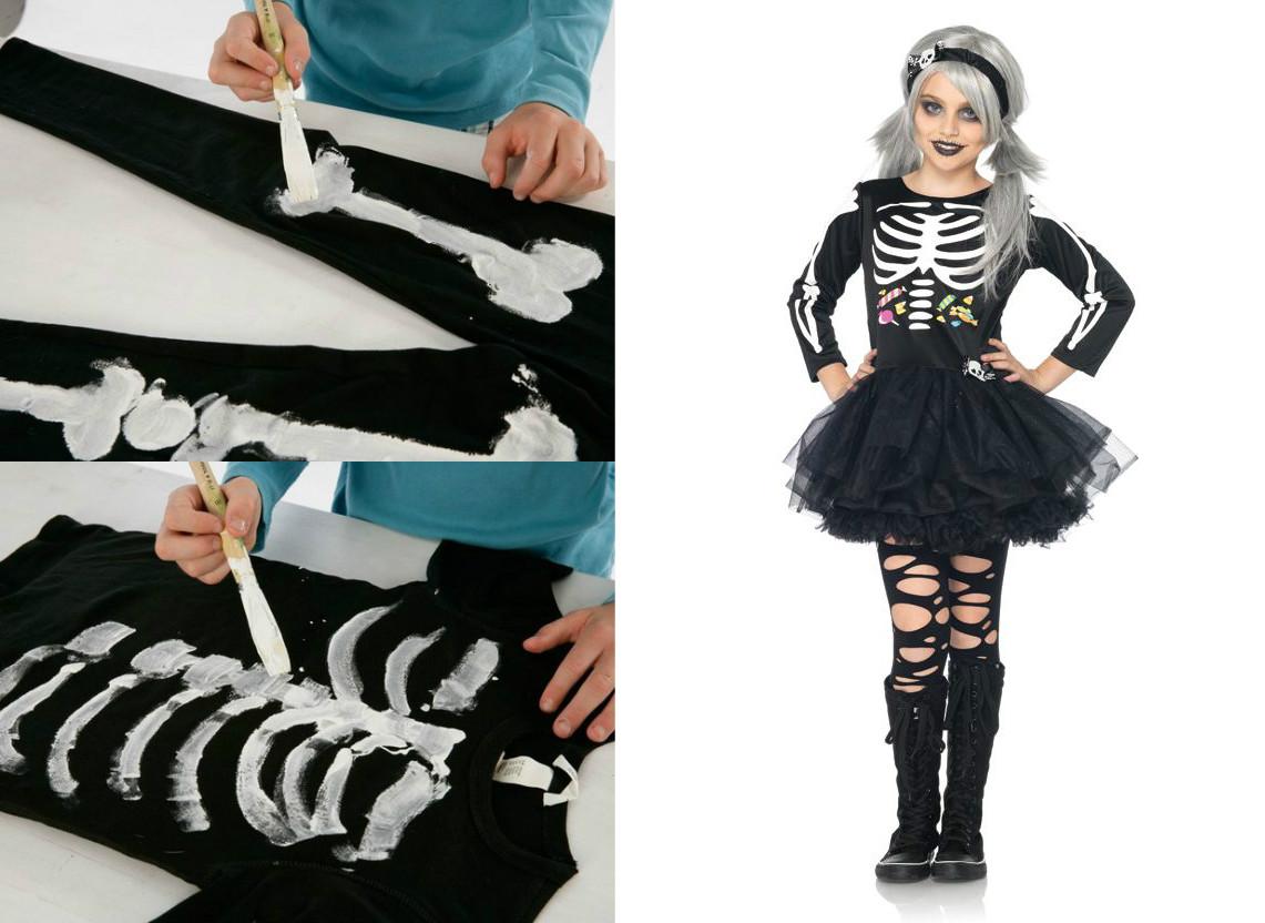 как нарисовать кости для костюма скелета