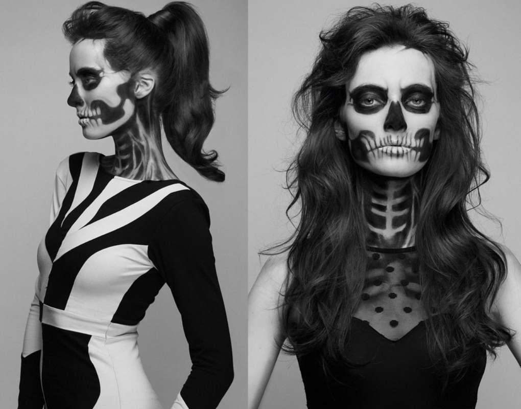 грим скелета для девушки на лицо и шею