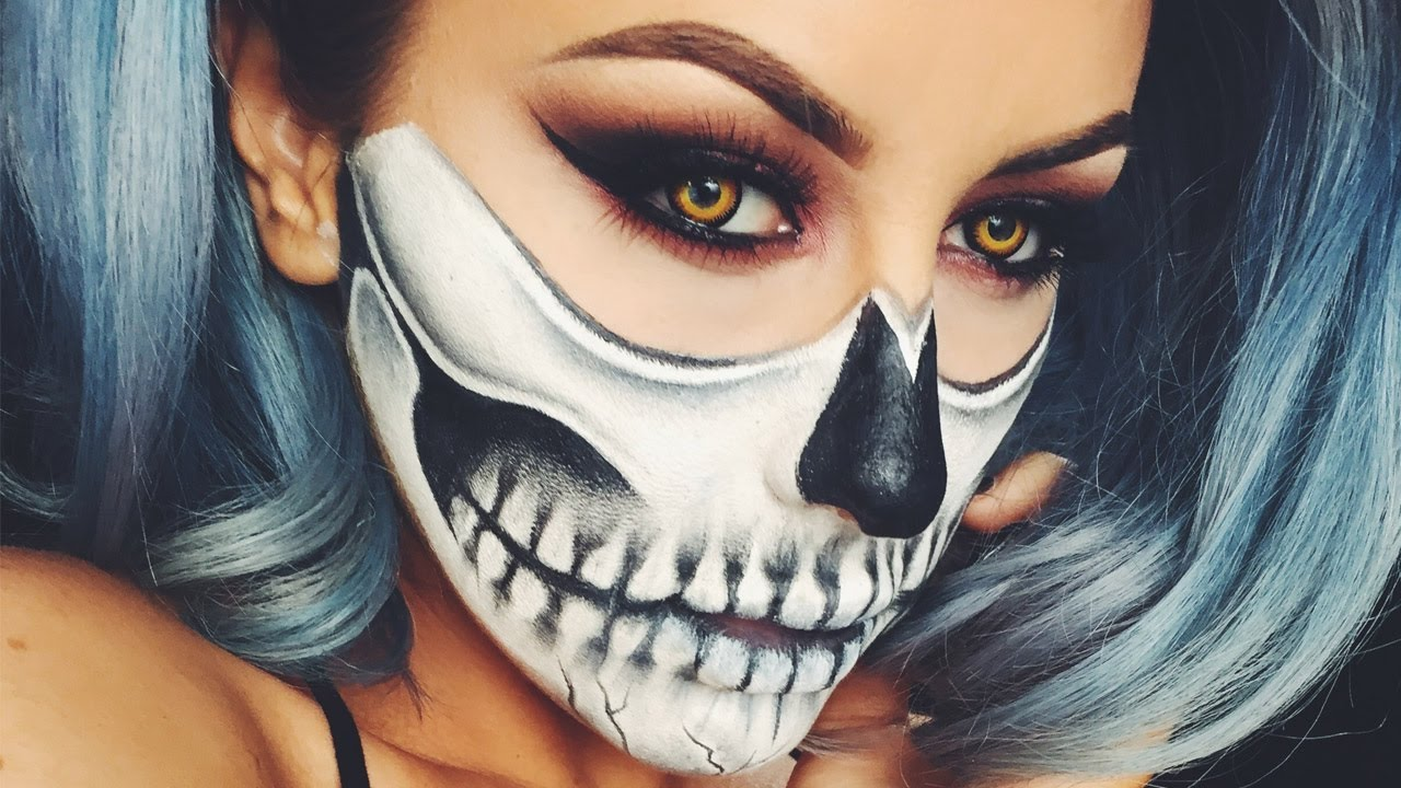 полумаска скелета на часть лица: грим для девушки на Хэллоуин